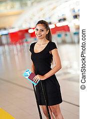 het reizen, businesswoman, jonge, lucht