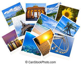 het reizen, foto's, collage, vrijstaand, op wit, achtergrond