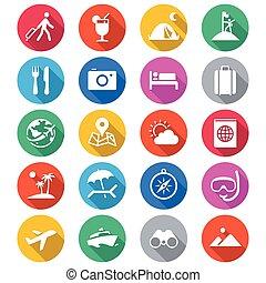 het reizen, plat, kleur, iconen