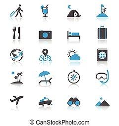 het reizen, plat, met, reflectie, iconen