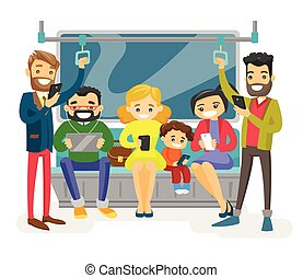 het reizen, transport., publiek, kaukasisch, mensen