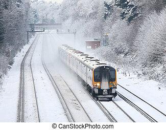 het reizen, trein, sneeuw, forens
