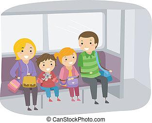 het reizen, trein, stickman, gezin