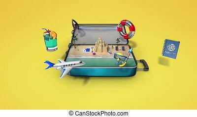 het reizen, vakantie, zak, geopend