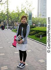 het reizen, vrouw, shanghai, aziaat, china.