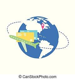 het reizen, wereld, met, vliegtuig, plat, vector, concept