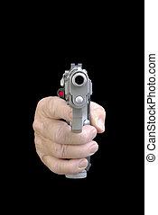 het richten van de hand, een, geweer