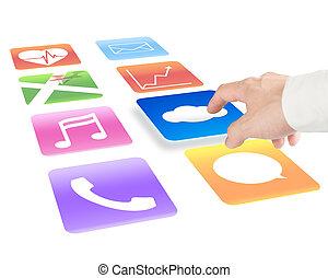 het richten van de hand, op, wolk, gegevensverwerking, met, kleurrijke, app, iconen