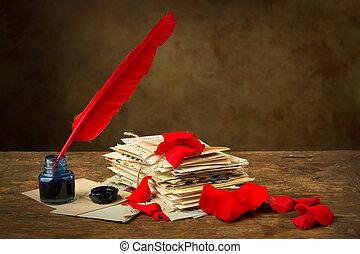 het rood nam toe, kroonbladen, en, antieke , brieven