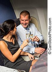 het roosteren, paar, vliegtuig, champagne, reizen, smart