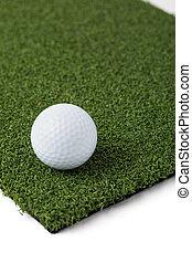 het rusten, achtergrond, witte , gras, gedeelte, kunstmatig, golf, kunstgras, bal