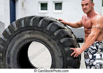 het rusten, vermoeien, workout, na, gespierd, man
