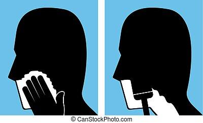 het scheren, hoofd, iconen
