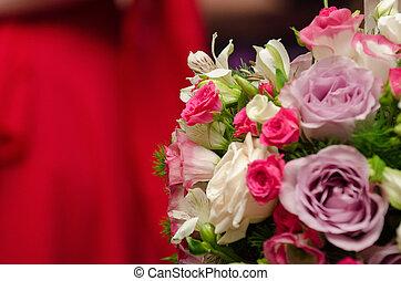 het schoffelen, kaarsje, met, floral schikking
