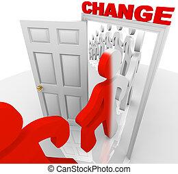 het schrijden, door, de, veranderen, deuropening
