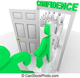 het schrijden, door, de, vertrouwen, deuropening