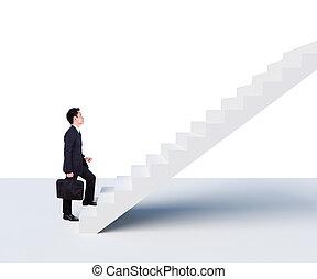 het schrijden, trap boven, zakenmens