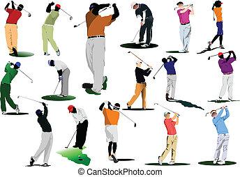 het slaan, golfspeler, bal, ijzer, club.