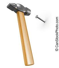 het slaan, nieuw, spijker, hamer, glanzend