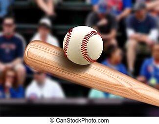 het slaan, vleermuis, bal, honkbal