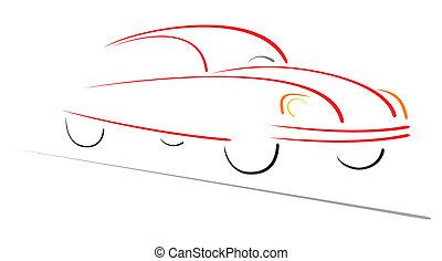het snelen auto, op, straat