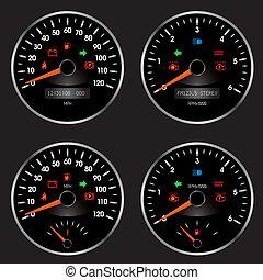 het snelen auto, snelheidsmeter