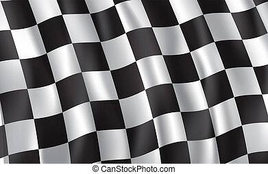 het snelen, en, verzameling, auto, geruite vlag, vector