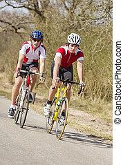 het snelen, fietsers
