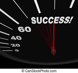 het snelen, naar, -, succes, snelheidsmeter