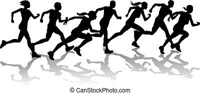 het snelen, renners