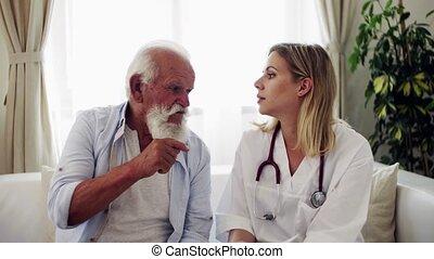 het spreken., bezoeker, stethoscope, gezondheid, senior,...
