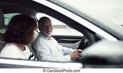 het spreken., zittende , paar, auto, senior, vrolijke