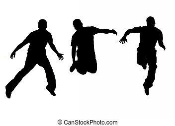 het springen, jonge, amerikaan, hoi, con, afrikaan, lucht, ...