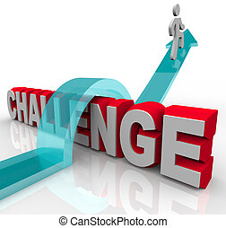 het springen klaar, een, uitdaging, om te, bereiken, succes