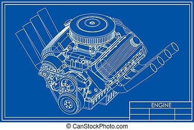 het stång, v8, motor, teckning
