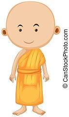 het staan alleen, boeddhistische monnik