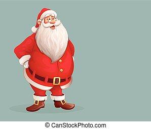 het staan alleen, het glimlachen, claus, kerstman