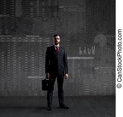 het staan klaar, kantoor, zakelijk, diagram, achtergrond., investering, zakenman, concept.