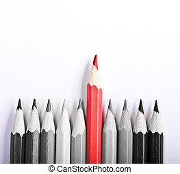 het staan klaar, pen, achtergrond, wit uit, rood