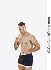 het staan maniertje, gespierd, vechten, naakt, bokser, tors, professioneel