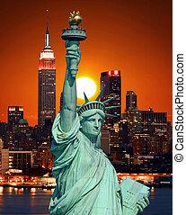 het standbeeld van vrijheid, en, new york stad