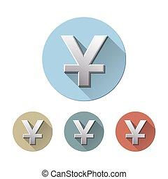 het symbool van de munt, yuan