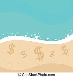 het teken van de dollar, voor de kust, zand strand