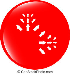 het teken van de pijl, pictogram, set., eenvoudig, cirkel, vorm, internet, knoop