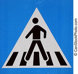 het teken van de voetgangersoversteekplaats