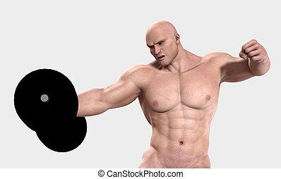 het tilen, gewicht, man, sterke