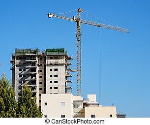 het tilen, kraan, en, gebouw, in aanbouw