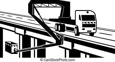 het tilen, mechanisme, op, brug, van, snelweg