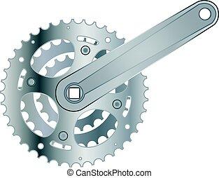 het toestel van de fiets, metaal, tandrad