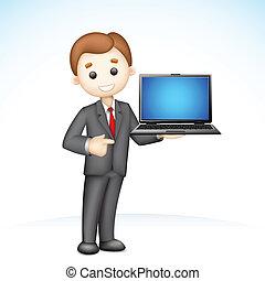 het tonen, 3d, draagbare computer, zakenmens